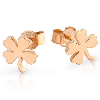 925 Sterling Silver Rose Gold Plated Clover Earrings