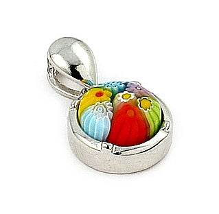 .925 Sterling Silver Multi Color Millefiori 10mm Round Pendant