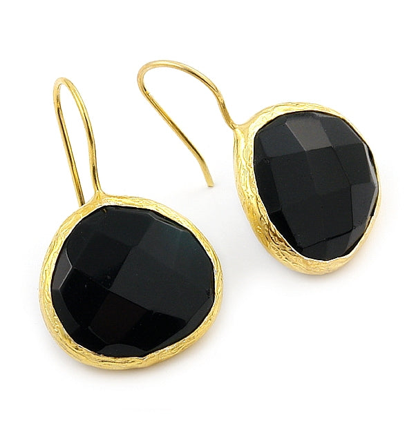 925 Sterling Silver Gold Plated And Onyx Fishhook Earrings