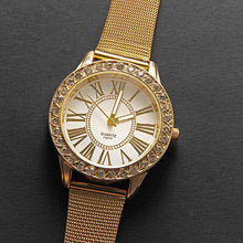 Load image into Gallery viewer, Gold Men Watch Women Stainless Steel Band Watches  Crystal  Bracelet