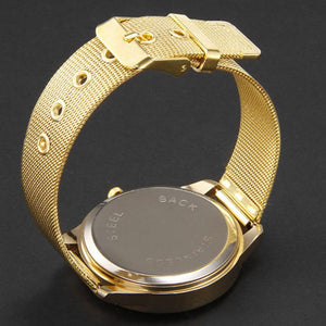 Gold Men Watch Women Stainless Steel Band Watches  Crystal  Bracelet