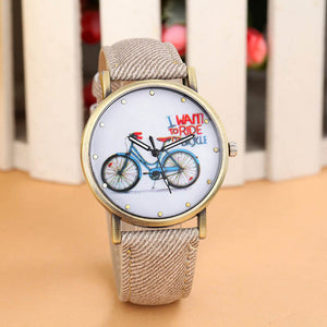 Luxury Brand Leather Quartz Watch Ladies Dress Watches Casual Bicycle Watch Women