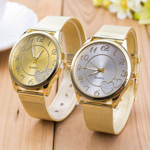 Luxury Gold Watches Women Mesh Stainless Steel Heart Ladies Dress Watch Quartz