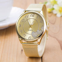 Load image into Gallery viewer, Luxury Gold Watches Women Mesh Stainless Steel Heart Ladies Dress Watch Quartz