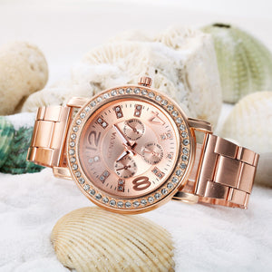 Luxury  women Stainless Steel Quartz-watch dress watches Lady Rose gold Sliver