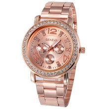 Load image into Gallery viewer, Luxury  women Stainless Steel Quartz-watch dress watches Lady Rose gold Sliver
