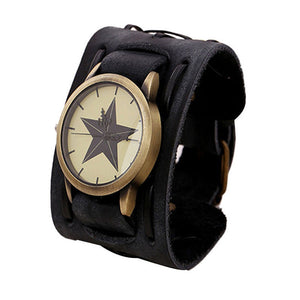 Punk Style  watches mens watches PU Leather Wristwatches For Men orologio uomo