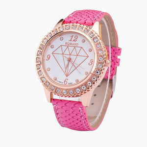 GENVIVIA montres femme Fashion Women Diamond Analog Leather Quartz luxury watches for women