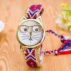 Luxury Watches Women Cute Glasses Cat Quartz Dial Wrist Watch Multi color  feminino