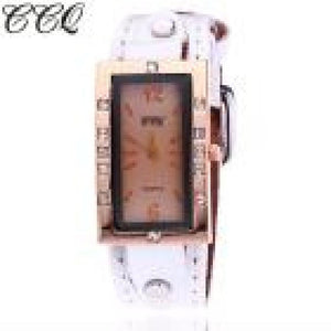 Luxury Brand CCQ Vintage Leather Rectangle Bracelet Watches Women