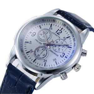 Luxury Geneva PU Leather Strap Quartz  Fashion Wristwatches For Men Relogio Masculino #23
