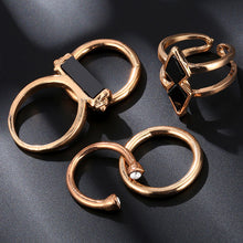 Load image into Gallery viewer, Vintage 5 PCS Ring Set Punk Silver Color Stone Rings For Women/Men