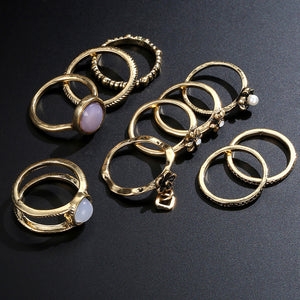 Luxury 10Pcs/Set Midi Rings For Women Vintage Arrow Moon Finger Joint ring Knuckie