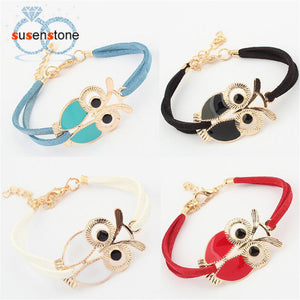 SUSENSTONE New Fashion Womens Girls Vintage Owl Decoration Faux Leather Bracelets