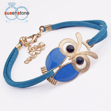 Load image into Gallery viewer, SUSENSTONE New Fashion Womens Girls Vintage Owl Decoration Faux Leather Bracelets