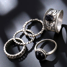 Load image into Gallery viewer, Vintage 5 PCS Ring Set Punk Silver Color Stone Rings For Women/Men Bead Finger Gold Color Ring