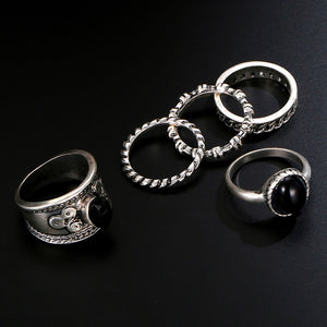 Vintage 5 PCS Ring Set Punk Silver Color Stone Rings For Women/Men Bead Finger Gold Color Ring