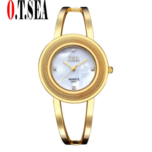 O.T.Sea Brand Crystal Diamond Luxury Bracelet Watch Women's Watches Rose Gold Sliver