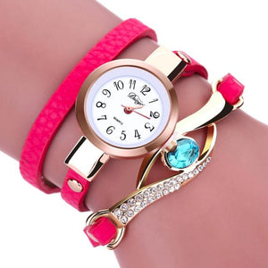 Fashion luxury womens watches 2016 Women Diamond Wrap Around Leatheroid Quartz