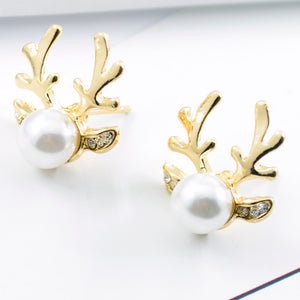 1Pair Women Luxurious Antlers Shape Alloy Ear Stud Pearl Earrings Jewelry GD