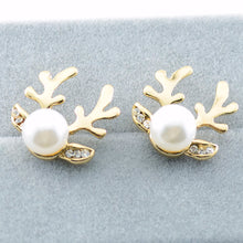 Load image into Gallery viewer, 1Pair Women Luxurious Antlers Shape Alloy Ear Stud Pearl Earrings Jewelry GD