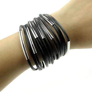 Women Ladies Girl Fashion Leather Bracelet Wristband Cuff Bangle WH
