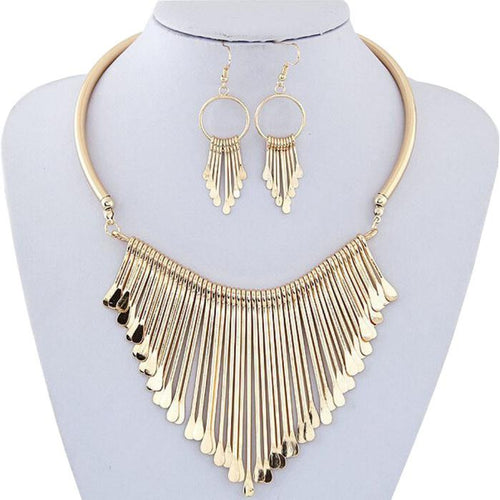 Luxury Womens Metal Tassels Pendant Chain Bib Necklace Earrings Jewelry Set GD