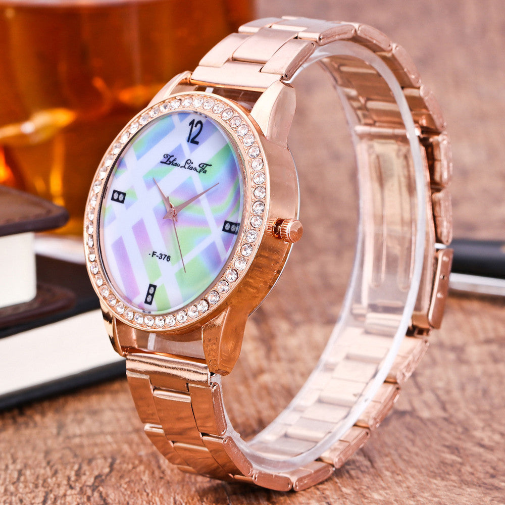 Fashion Luxury Women Quartz Stainless Steel Strip Wrist Watch