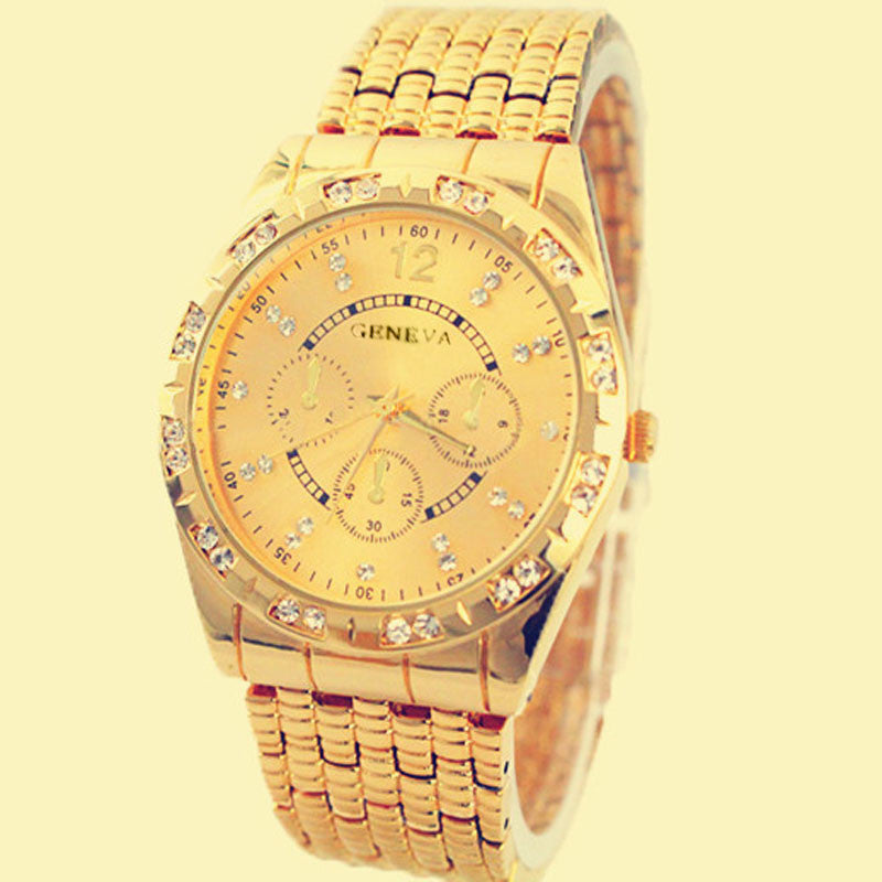 Men Diamond Metal Band Analog Quartz Fashion Wrist Watch