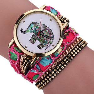 Women Girl Rhinestone Elephant Pattern Quartz Bracelet Wrist Watch