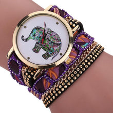 Load image into Gallery viewer, Women Girl Rhinestone Elephant Pattern Quartz Bracelet Wrist Watch