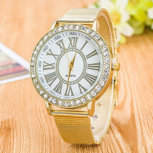 Men Women Stainless Steel Band Crystal Wrist Watches Quartz Watch Bracelet