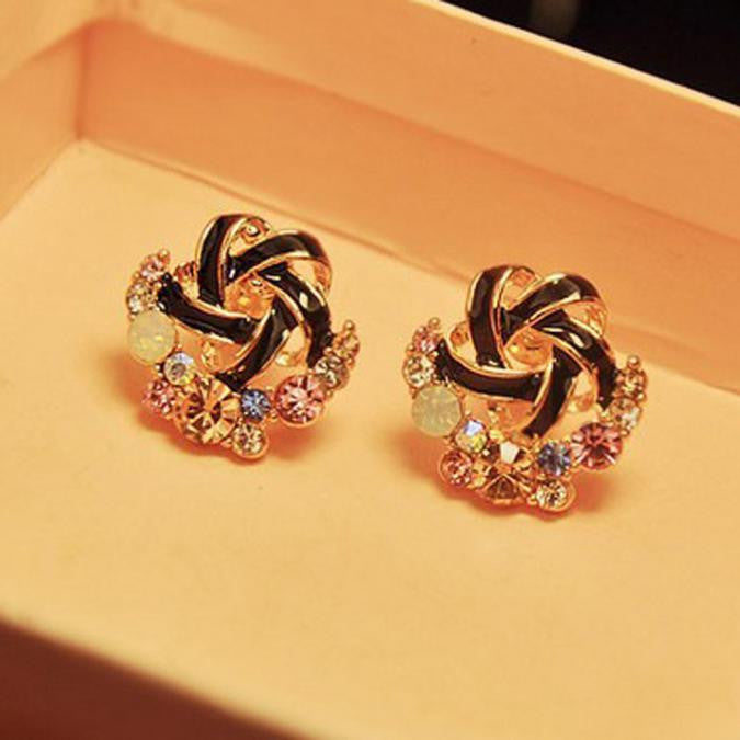 Women Luxury of Elegant Temperament Distorted Mode Color Rhinestone Earrings  BK