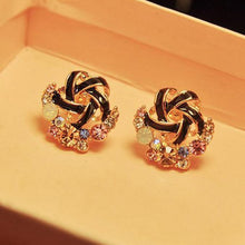 Load image into Gallery viewer, Women Luxury of Elegant Temperament Distorted Mode Color Rhinestone Earrings  BK