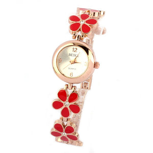Fashion Daisies Flower Rose Gold Bracelet Wrist Watch Women Girl
