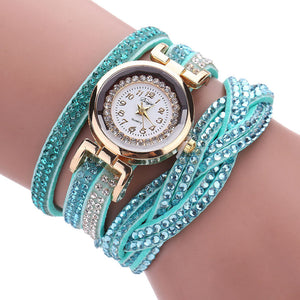 Women Luxury Crystal Women Gold Bracelet Quartz Wristwatch Rhinestone Watches