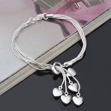Load image into Gallery viewer, New Fashion Women Girls Sterling Silver Plated Heart Bracelet Jewelry