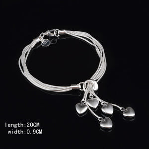 New Fashion Women Girls Sterling Silver Plated Heart Bracelet Jewelry