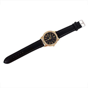 Bling Gold Crystal Women Luxury Leather Strap Quartz Wrist Watch