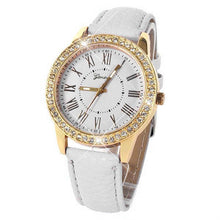 Load image into Gallery viewer, Bling Gold Crystal Women Luxury Leather Strap Quartz Wrist Watch