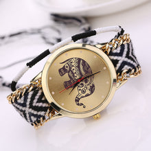 Load image into Gallery viewer, Women Girl Handmade Braided Elephant Bracelet Dial Quarzt Watch