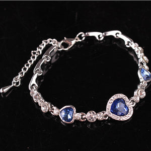 Fashion Women Girls Crystal Jewelry Silver Plated Charm Bracelet Bangle BU