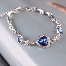 Load image into Gallery viewer, Fashion Women Girls Crystal Jewelry Silver Plated Charm Bracelet Bangle BU
