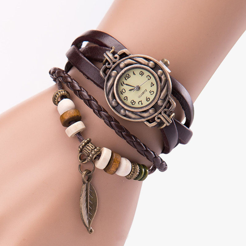 Women Girl Vintage Watches, Bracelet Wristwatches leaf Pendant