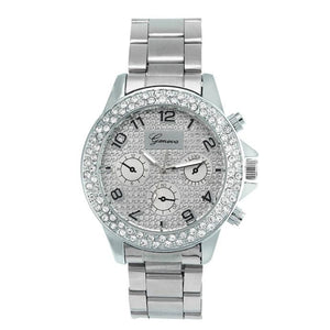 Geneva Women Fashion Luxury Rhinestone Crystal Quartz Analog Watch
