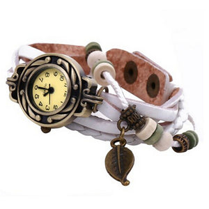 Women Girl Vintage Watches, Bracelet Wristwatches leaf Pendantite
