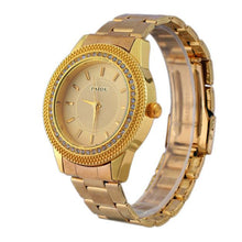 Load image into Gallery viewer, Mens Gold Watches Diamond Dial Gold Steel Analog Quartz Wrist Watch