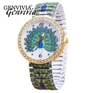 Fashion Luxury Watch Women Quartz Elasticity Flowers Shrink Bracelet Quartz Stainless Steel