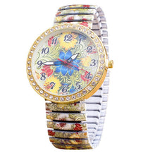 Load image into Gallery viewer, Fashion Luxury Watch Women Quartz Elasticity Flowers Shrink Bracelet Quartz Stainless Steel