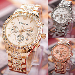 2017 New Fashion Gold Quartz Watch Famous Brand Women Clock Elegant  Watch